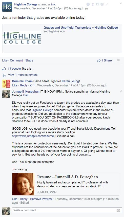 Highline Community College Facebook Post